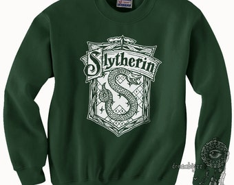 Slyth Crest #2 One Color printed on Forest Green Crew neck Sweatshirt