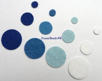 72 Blue Felt Circles (10 mm, 19 mm, 30mm)