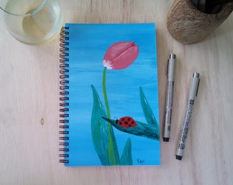 Hand Painted Wire Bound Spiral Journal; FREE SHIPPING; Blank Notebook; Writing Journal, Small Sketchbook; Ladybug and Flower
