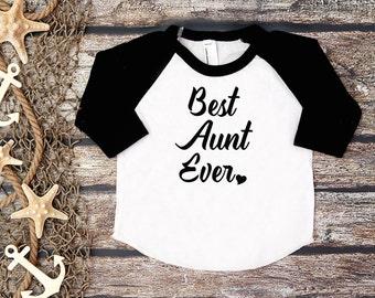 Best Aunt Ever Shirt;Auntie Shirt;Adult Baseball Tee;Auntie and Me Shirt;Women's Baseball Shirt