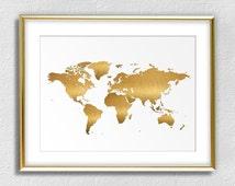 Printable Digital Download - Golden World Map - Faux Brushed Gold finish - Living Room, Dorm, Office Wall Decor - Digital Print CP-901