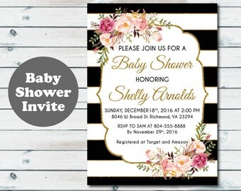 Printable Black and White Stripes Baby Shower Invitation, Floral Baby Shower Invite, Customized Bridal Shower Invite, Floral Bridal Shower