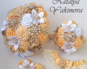 Brooch Bouquet, Bridal Bouquet, Wedding Bouquet, Fabric Bouquet, Unique Bouquet, Toss bouquet, Wedding Accessories,Wedding set, white, cream