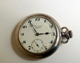 Antique Chorometre Angelus Open Face Pocket Watch