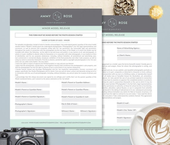 Photography Model Release Template , Adult Minor Model Release Form in MS Word and Adobe Photoshop - INSTANT DOWNLOAD - AMR002