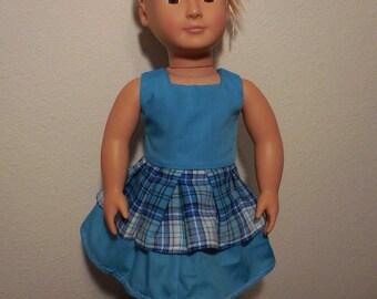 Teal ruffled skirt dress