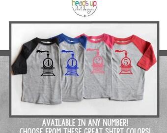 Train Birthday Shirt Raglan - 1,2,3,4,5 Train Birthday tshirt - Toddler Boy/Girl Train Birthday One/Two/Three/Four/Five - 1st/2nd/3rd/4th/5