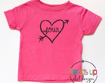 Toddler Girl Four Birthday Shirt - 4 Birthday Tee Girl - Fourth Bday Arrow Heart tshirt - Trendy 4th Birthday t-shirt - Birthday Gift Four