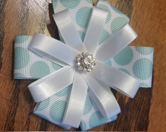 Hairbow, pale blue and white (alligator clip)