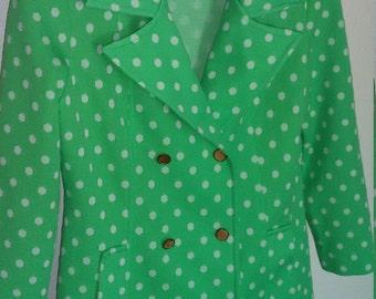 Funky Neon Green Polka Dot Blazer