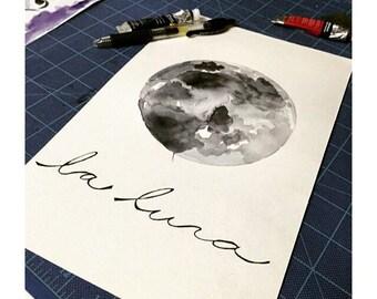 La Luna Watercolor 8x10
