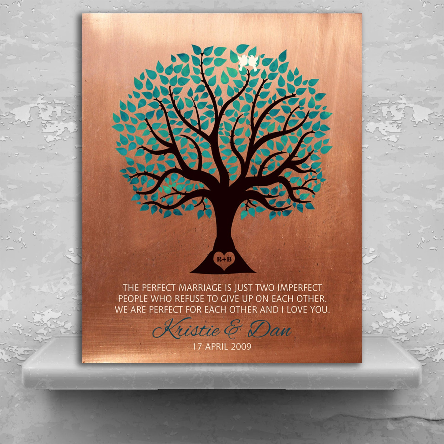 7th Wedding Anniversary Gift: 7th Traditional Anniversary Personalized Gift Faux Copper