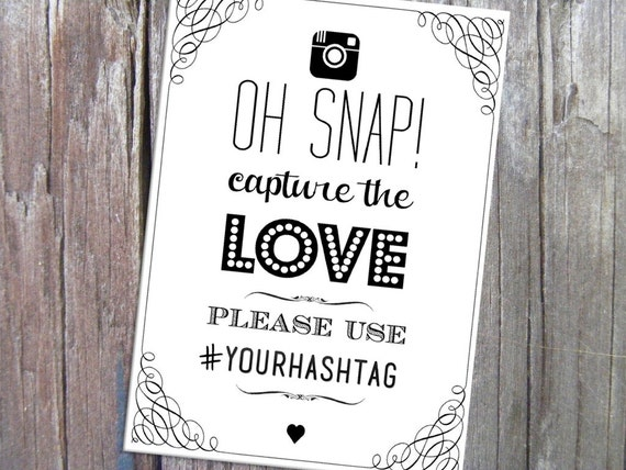 Oh Snap Instagram Social Media Hashtag Wedding Sign Printable 5x7 Template Instant Download