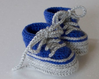 Baby Crochet High Top Shoe Bootie, Grey and Blue, 0-3 Months