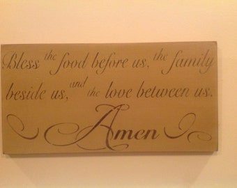 """Handmade""""Bless Our Food"""" Stenciled Inspirational message Sign 22""""x11.5"""""""