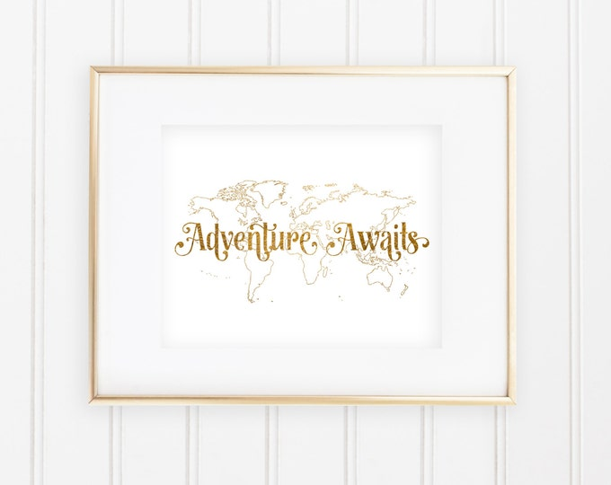 "Disney's Up! Inspired ""Adventure Awaits"" - Real Gold Foil Print"