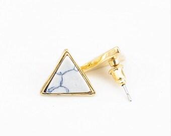 Triangle Marble Earring, Marble Stud Earring, Marble Earring, Triangle stud, Statement Earring, Geometric Earring, Gold stud Earring