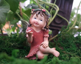 "Miniature Fairy Little Girl in Red with or without 6.5"" Stake"
