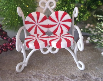 Miniature Candy Cane Peppermint Love Seat