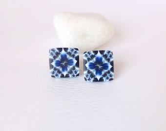 Stud Earrings, Polymer Clay Earrings , Modern jewelry, Geometric earrings, Blue White Black earrings, Polymer clay jewelry, Modern earrings