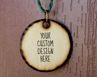 Custom Wood Burned Design Necklace