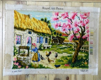 Needlepoint woodland scene canvas, Made in France canvasses, Finished tapestry, Completed tapestries, Needlepoint wall art, Vintage canevas,