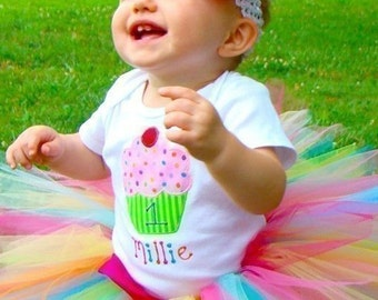 Cupcake 1st Birthday Outfit Onesie Tutu FREE Hair Bow Personalized Baby Girl