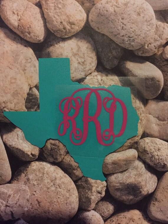 Texas State Monogram Vinyl or Iron on Decal/ Texas Decal/ Texas Monogram