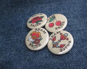 Hen Party Badges TEAM BRIDE Vintage Tattoo - Rockabilly - Pin Button Badge