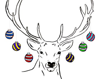 Handsome Stag Christmas Cards. Hand Drawn Design, Festive Stag with Baubles