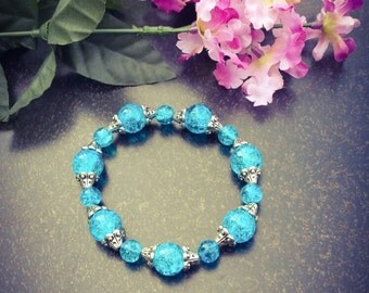 Blue and silver beaded stretch  bracelet