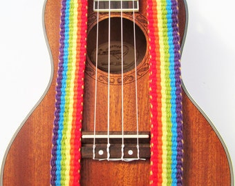 Handwoven Ukulele Strap, Options: Nexk Strap with J Hook/ Leather Ends with Free Headstock Strap Holder or  Banjo Strap Adapters