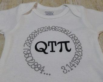 QT Pi, Cutie Pie Baby, Infant Onesie, Bodysuit.  Math Humor, Geek, Nerd, Geometry, Funny.  Nursery, Baby Shower, Newborn-12 Months.