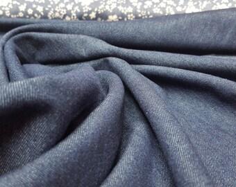 Light- to Mid-Weight Cotton Denim Fabric: Dark Blue / Navy - UK Seller