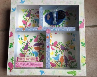 box of birth - memory box - box gift wood and cardboard birth - birth gift set - baby sock feutrin