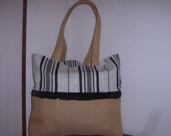 Jute and cotton canvas tote