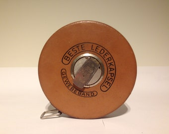"Vintage Measuring Tape ""BESTE LEDERKAPSEL"" Western Germany."