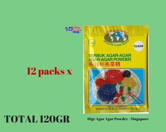 12 packs x 10gr Agar Agar Powder - Singapore - 3D Gelatin Art Cake/3D Jelly Cake
