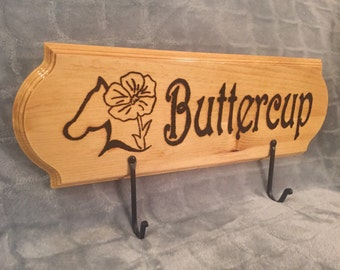 Custom Engraved, Personalized Horse Bridle or Halter Rack