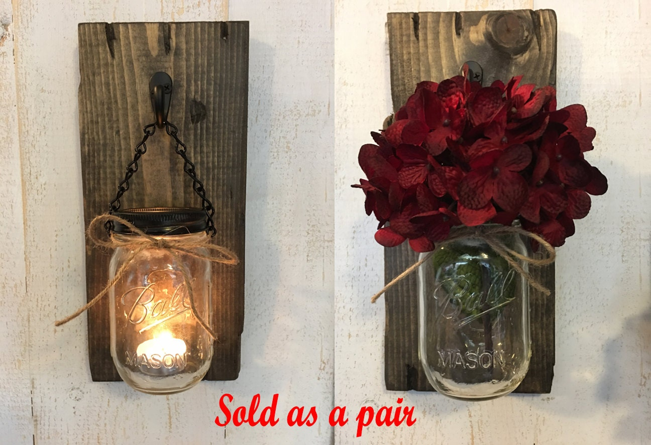 Mason Jar Night Light - Brown or Barn Roof