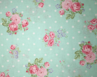Cottage Chic Fabric Traditions Bed & Breakfast Savannah Shabby Roses Dots Fabric Apparel Quilting 100% Cotton Fabric 1 Yard