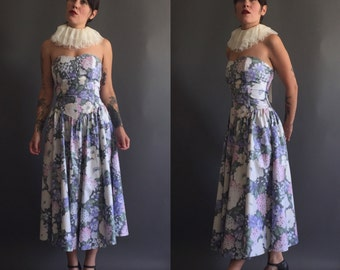 Vintage 80s PASTEL floral strapless party dress