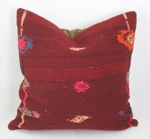 Lovely Red Kilim Pillow Cover 24x24 Throw Pillows Sofa