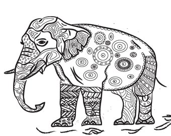 Book, Dzen-Art, Elephant Anti-stress, Drawing for Relax, Drawing for Fun