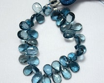 ON SALE 40% London Blue Topaz Cut Pear, Faceted Pear, Blue Topaz Briolettes, 6x9mm Approx, 16 Pieces, A++