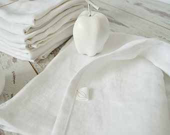 Linen towel set - Set of 3 towels - White soft linen towels - Linen hand / face / guest towels - Natural linen tea towels - Guest towels