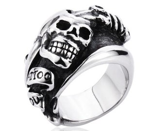 Tattoo skull ring with dagger for him and her (SK-010)