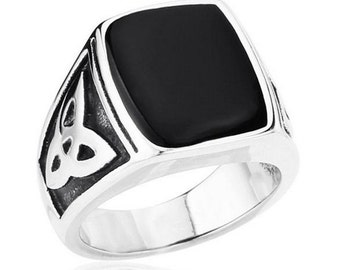 Black fashion ring stainless steel 316L for him and her