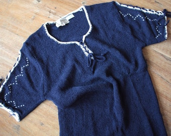 Vintage 1970s Sweater Blouse // 70s Navy Blue Knit Top with Lace Up Sleeves // Hungarian Blouse // NOS // Pin Up Blouse