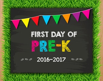 First day of Pre-K Sign - INSTANT DOWNLOAD - Prek Chalkboard Printable - First day Pre K Photo Prop Back to school